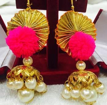 Pink Pom Pom Gota Flower Jhumka