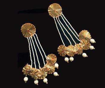 Pearl And Gota Long Chandbaali Earrings