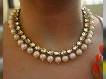Kundan And Pearl Gold Plated Necklace