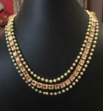 Square Kundan Pearl And Green Onyx Gemstone Necklace
