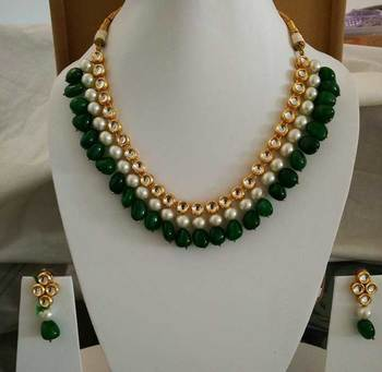 Kundan With Embellished Pearl And Green Onyx Gemstone Necklace