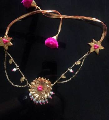Neon Pink And Gold Gota Choker Necklace