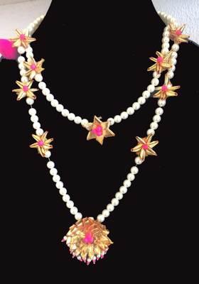 Pink Flower Gota Necklace