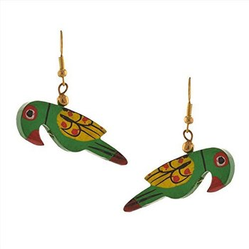 Green Parrot Hand Painted Earrings