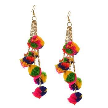 Multicoloured Pom Pom Dangling Earrings