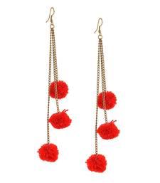 Red Pom Pom Dangling Earrings