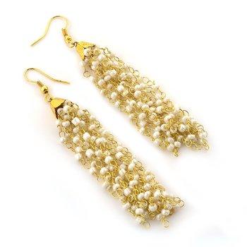 Pearl Beaded Long Dangling Earrings