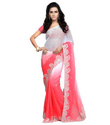 Buy Tomato Embroidered Chiffon saree with blouse chiffon-saree online