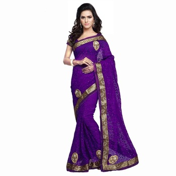 Purple Embroidered Brasso saree with blouse