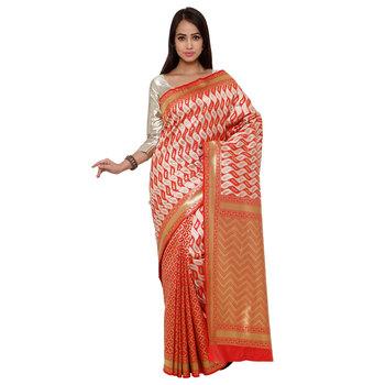 Red zari art silk saree with blouse