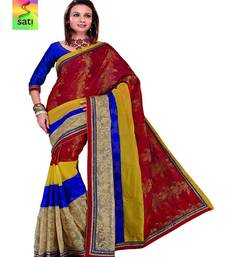 Buy SATI Multicolour Chanderi And Handloom Patola With Patch Work And Zari Embroidery All over cotton-saree online
