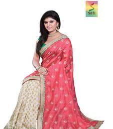 Buy SATI Red Embroidered Raw Silk Saree art-silk-saree online