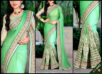 3900829e003411 Green embroidered georgette saree with blouse - Shree Sai Trading ...