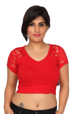 Red cotton hosiery stretchable fabric plain readymade blouse