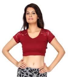 Maroon cotton hosiery stretchable fabric plain readymade blouse