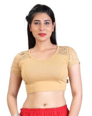 Beige cotton hosiery stretchable fabric plain readymade blouse