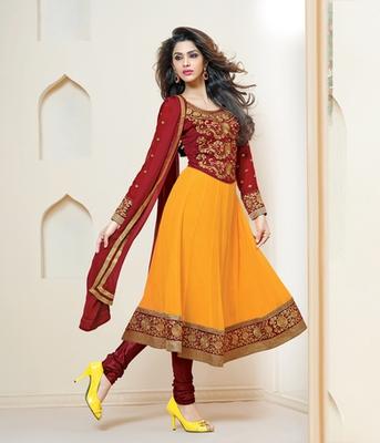 Delightful Maroon and Yellow Anarkali Salwar Suit