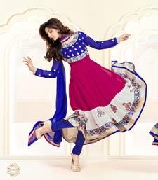 Buy Alluring Blue and Magenta Anarkali Salwar Suit semi-stitched-salwar-suit online