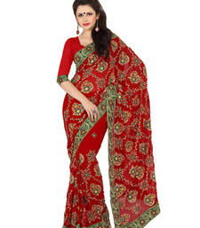 Buy Splendid Maroon Party Wear Saree karwa-chauth-saree online