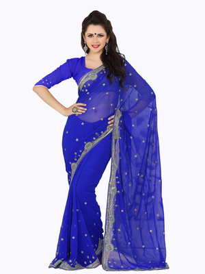 Lovely Blue Party Wear Saree