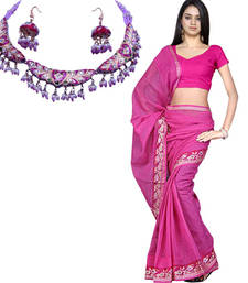 Buy Buy Kota Doria Handloom Saree n Get Necklace Free cotton-saree online