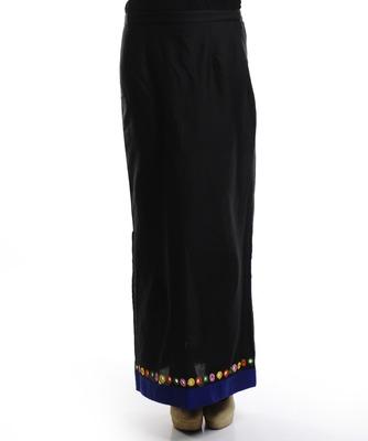 Women's Designer Black Skirt With Blue Border And Multy Color Tassel