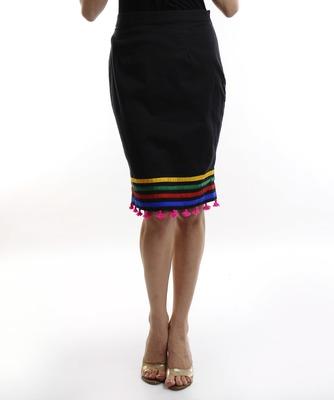 Women's Designer Black Short Skirt With Colored Lines In The Bottom