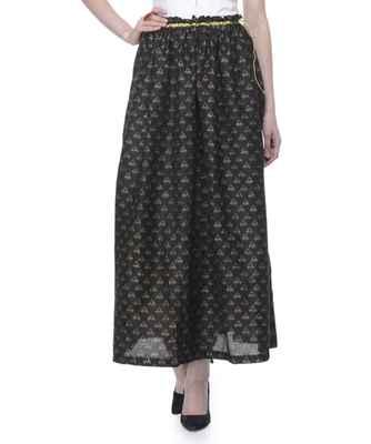 Women's Designer Black Gathered Block Printed Skirt