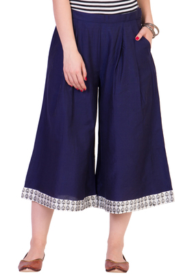 Women's Designer Navy Blue Calf Length Cullottes With Printed Hem