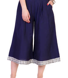 Buy Women's Designer Navy Blue Calf Length Cullottes With Printed Hem palazzo-pant online