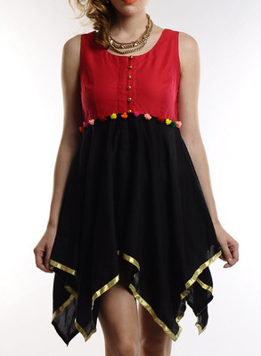 Women's Designer Red And Black Top With A-Symmetric Hem