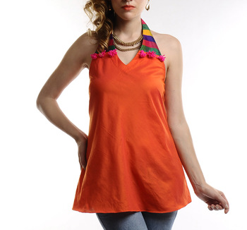 Women's Designer Multy Color Halter Strap Top With Orange Body