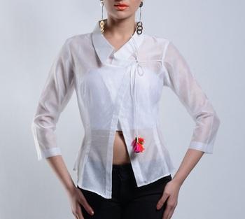 Women's Designer Asymmetrical White Chanderi Top