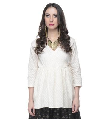 Women's Designer Cotton Angrakha Top In Cotton Jacquard
