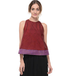 Women's Designer Maroon Mangalgiri Top With Purple Printed Border