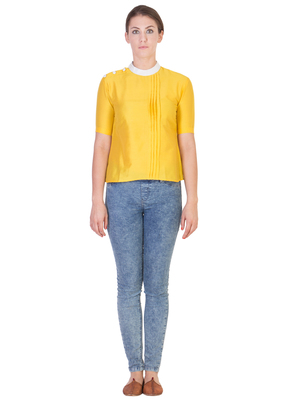 Women's Designer Yellow Solid Color Top With White Details