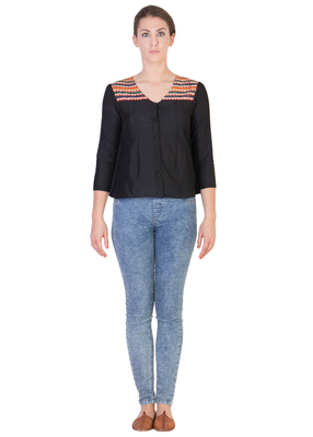 Women's Designer Black Cotton Top With Multi Colored Detialing