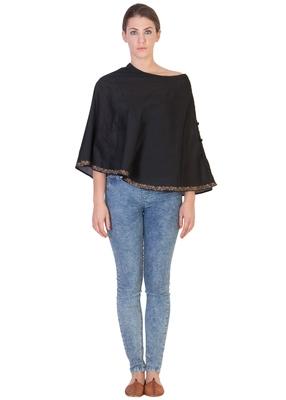 Women's Designer Black Block Printed  Cape