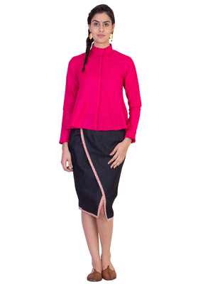 Women's Designer Pink Aline Top With Pleats On The Collar And Cuff