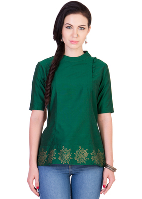 Women's Designer Pannelled Green Top With Printed Hem