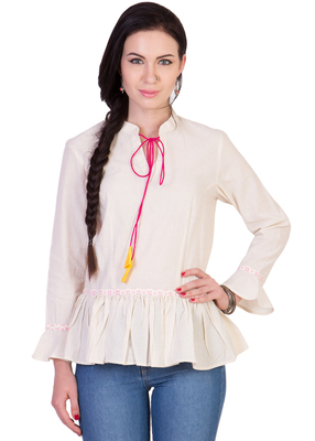 Women's Designer Off White Cotton Top With Peplum And Drawstrings