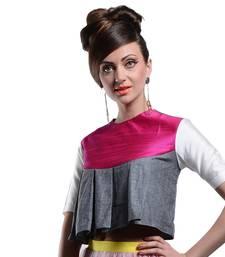 Women's Designer Grey Crop Top With Pink Yoke