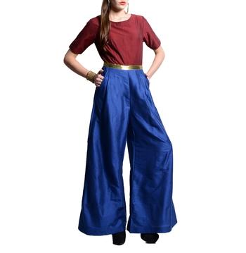 Women's Designer Maroon And Blue Jumper With Gold Belt