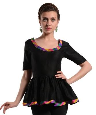 Women's Designer Black Top With Multi Colored Details