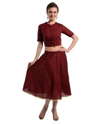 Women's Designer Crop Top With Bias Cut Full Circular Skirt
