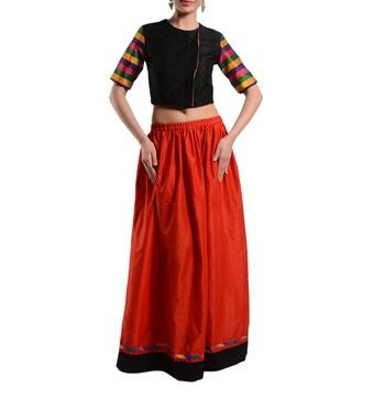 Women's Designer Crop Top With Gathered Skirt