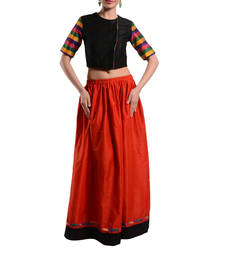 Women's Designer Crop Top With Gathered Skirt