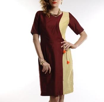 Women's Designer Maroon And Golden Cotton Silk Dress