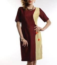 Buy Women's Designer Maroon And Golden Cotton Silk Dress dress online