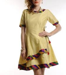 Buy Women's Designer Beige Wrap With Multi Collar Detailing Dress dress online